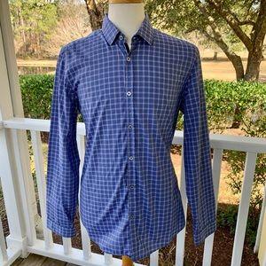 Hugo Boss LORENZO Blue Check Long Sleeve Shirt.